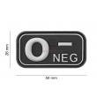 Patch PVC groupe sanguin O- NOIR - JTG