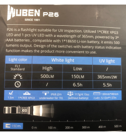 Lampe LED P26 500 lumens et UV 365nm/2W - WUBEN
