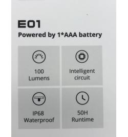 Lampe LED E01 100 lumens  - WUBEN