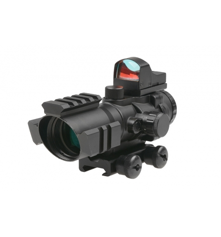 Lunette 4x32 Rhino réticule rouge/bleu/vert + micro point rouge - THETA OPTICS