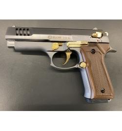 F06K fumé/or//Wooden grip 9mm balle à blanc - BBLOW
