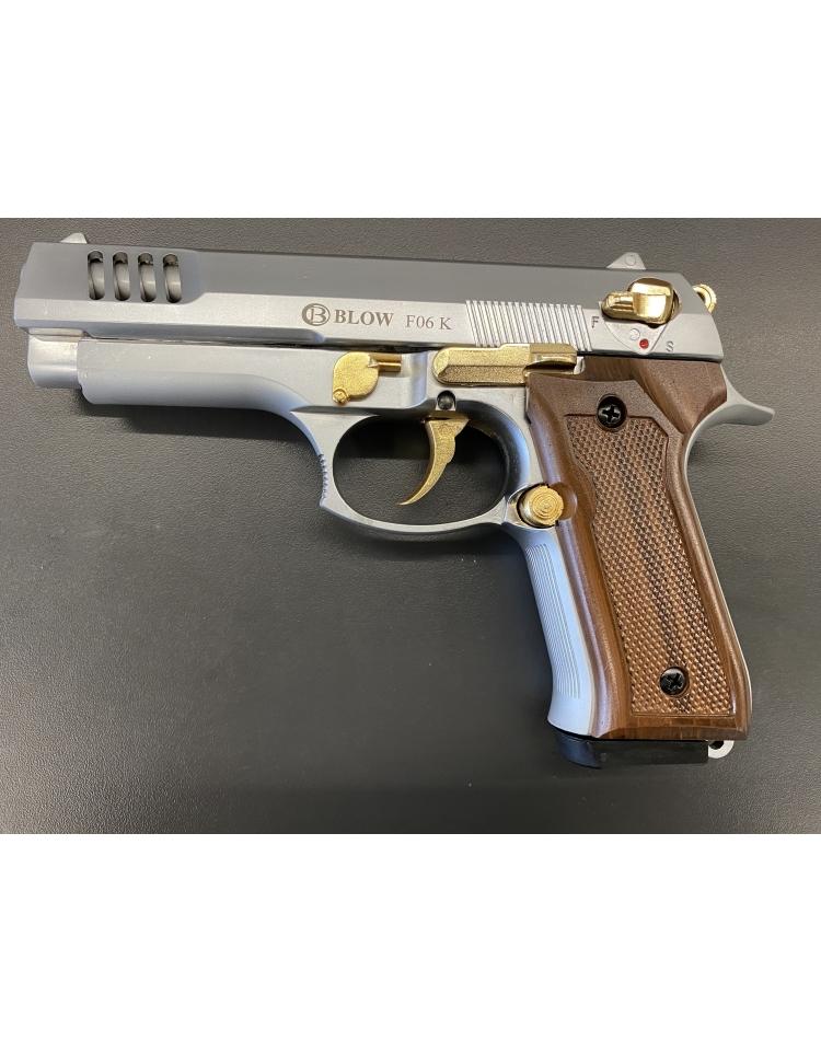 F06K chromé mat/or//Wooden grip 9mm balle à blanc - BBLOW