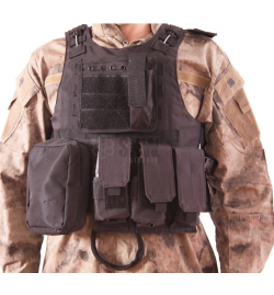 Gilet tactique Plate carrier V07 noir - DELTA TACTICS