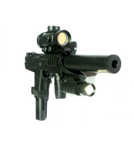 Mini UZI spring avec laser rouge, lampe, silencieux et point rouge