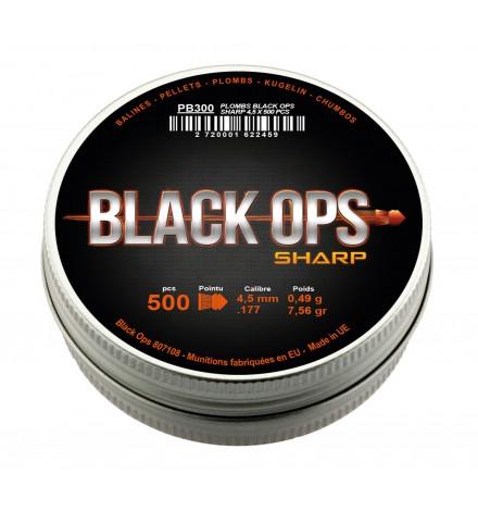Plombs Sharp tête pointu 4.5mm boîte de 500 - BLACK OPS