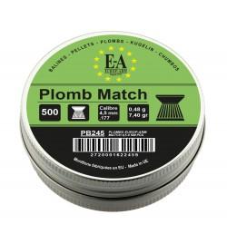 Plombs match 4,5 mm tête plate boite de 500 - EUROP'ARM
