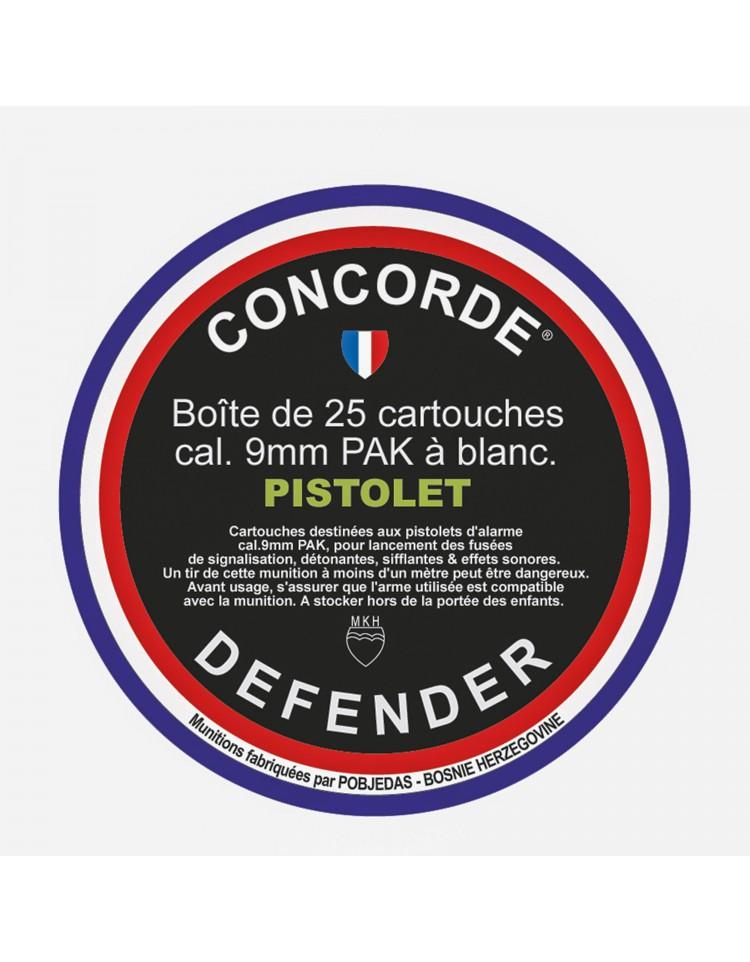 Boîte de 25 cartouches 9 mm PAK à blanc pour pistolet - CONCORDE
