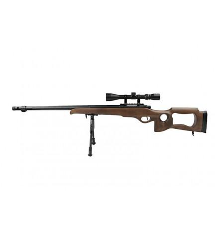 Sniper MB09D bois avec lunette de visée 3-9x40 et bipied - WELL