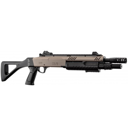 Fusil à pompe FABARM STF/12-11 COMPACT spring 3 billes tan 0,8j - BO MANUFACTURE